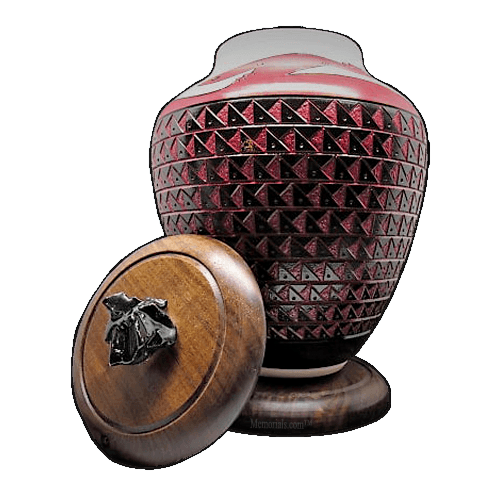Red Tribal Cremation Urn