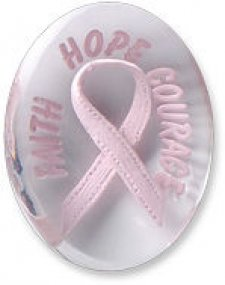 Awareness Pink Faith Hope Courage Ribbon Comfort Stone