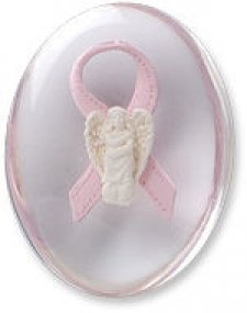 Awareness Pink Hope Angel Ribbon Comfort Stone