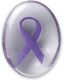 Awareness Purple Ribbon Comfort Stone