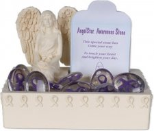 Awareness Purple Comfort Stone Keepsake Set