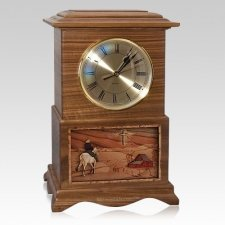 Riding and Farmhouse Clock Walnut Cremation Urn