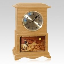 Riding and Moon Clock Oak Cremation Urn