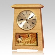 Riding and Cross Astoria Clock Oak Cremation Urn