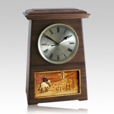 Riding and Cross Astoria Clock Walnut Cremation Urn