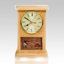Riding and Farmhouse Clock Oak Cremation Urn