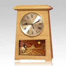 Riding and Moon Astoria Clock Oak Cremation Urn