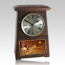 Riding and Moon Astoria Clock Walnut Cremation Urn
