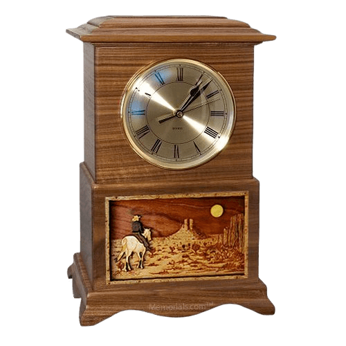 Riding and Moon Clock Walnut Cremation Urn