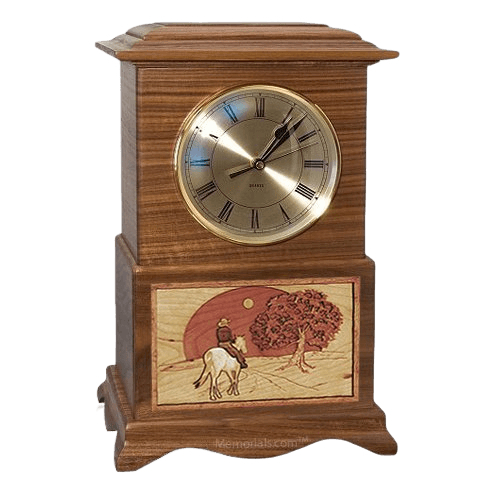 Riding and Sunset Clock Walnut Cremation Urn