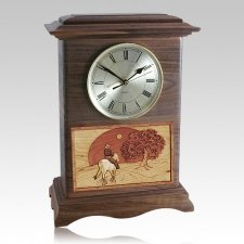 Riding and Sunset Clock Walnut Cremation Urn