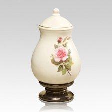 Pink Rose Small Ceramic Urn
