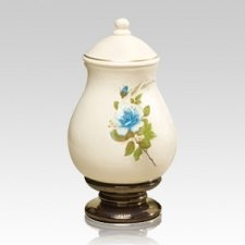 Blue Rose Small Ceramic Urn