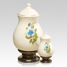 Blue Rose Ceramic Cremation Urns