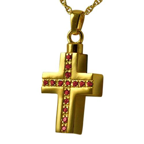 Ruby Crystal Cross Keepsake Pendant IV