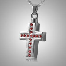 Ruby Crystal Cross Keepsake Pendant III