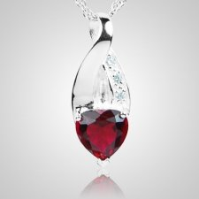 Ruby Crystal Eternity Keepsake Pendant III