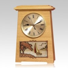 Sailing Astoria Clock Oak Cremation Urn