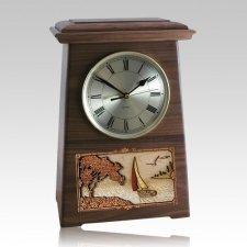Sailing Astoria Clock Walnut Cremation Urn