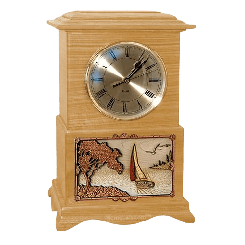 Sailing Clock Oak Cremation Urn