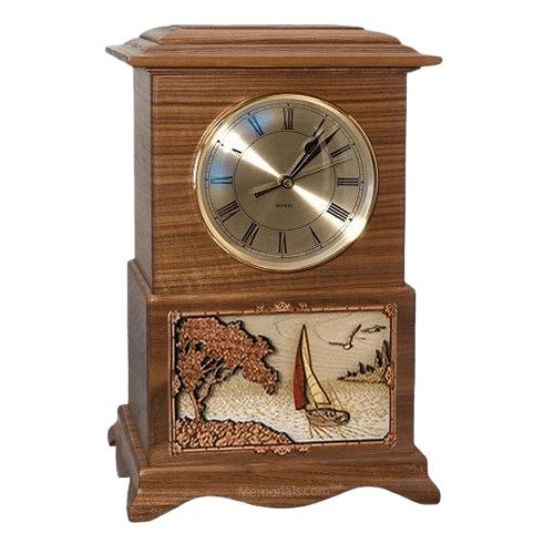 Sailing Clock Walnut Cremation Urn