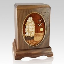 Sailing Away Wood Cremation Urn