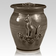 Kitty Dark Brown Ceramic Cremation Urn