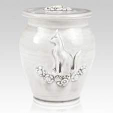 Kitty White Gloss Ceramic Cremation Urn