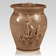 Kitty Light Brown Ceramic Cremation Urn