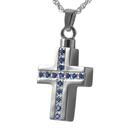 Sapphire Crystal Cross Keepsake Pendant III