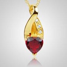Ruby Crystal Eternity Keepsake Pendant IV