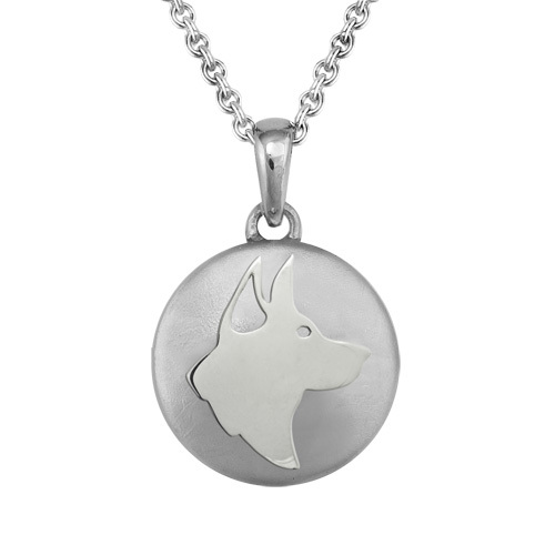 German Shepherd Silver Cremation Pendant