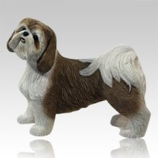 Gold & White Shih Tzu Dog Cremation Urn