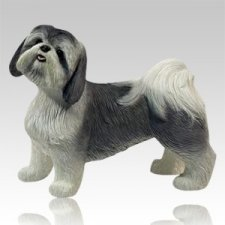 Gray & White Shih Tzu Dog Cremation Urn