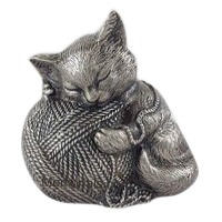 Silver Cat Cremation Urn