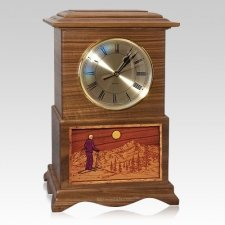 Skiing Clock Walnut Cremation Urn