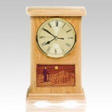 Skiing Clock Oak Cremation Urn