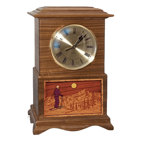 Skiing Clock Walnut Cremation Urn