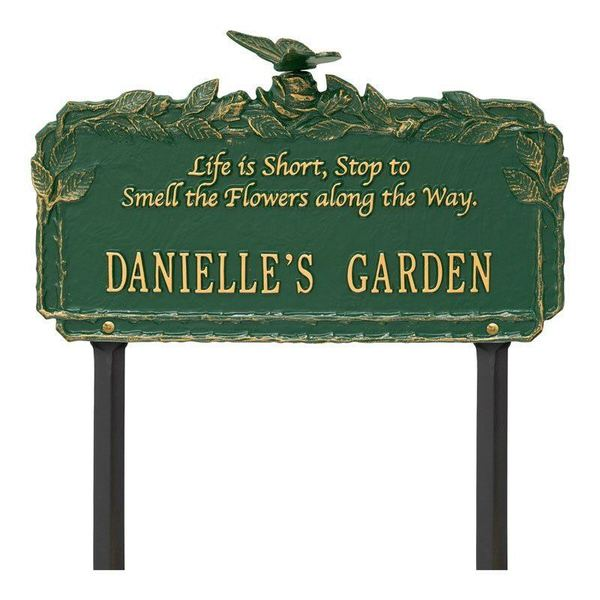 Smell The Flowers Green Dedication Plaque