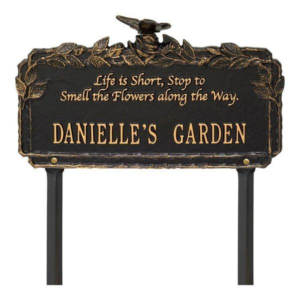 Smell The Flowers Black Dedication Plaque
