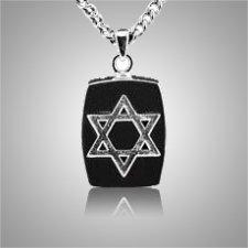 Star of David Square Cremation Pendant