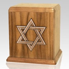 Star of David Oak Cremation Urn