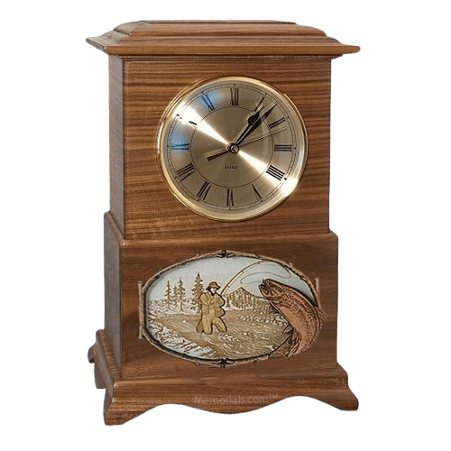 Streamfishing Clock Walnut Cremation Urn