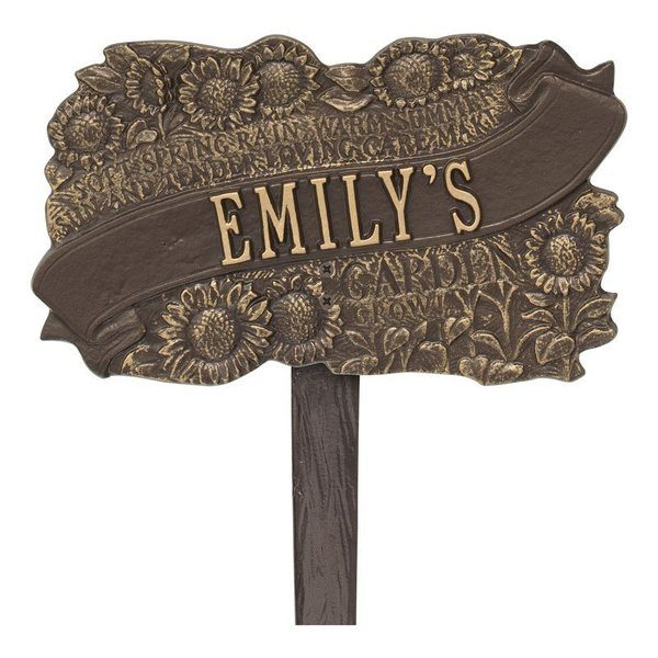 Personalized Sunflower Bronze Dedication Plaque