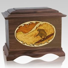 Surfer Walnut Cremation Urn