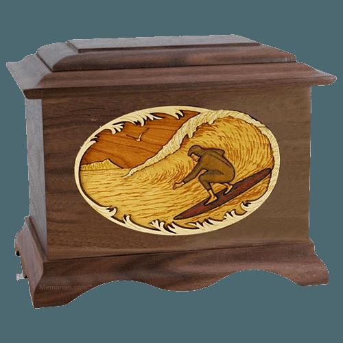 Surfer Walnut Cremation Urn