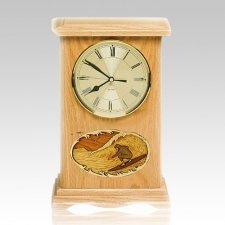 Surfing Clock Oak Cremation Urn