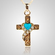 Swirl Blue Cross Keepsake Jewelry IV