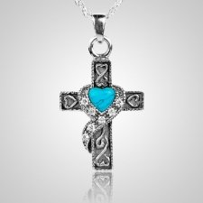 Swirl Blue Cross Keepsake Jewelry