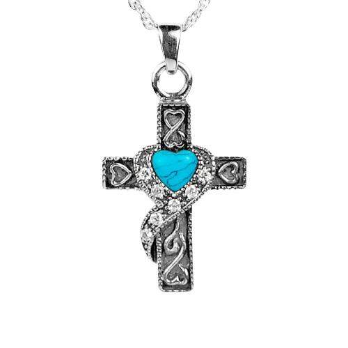 Swirl Blue Cross Keepsake Jewelry